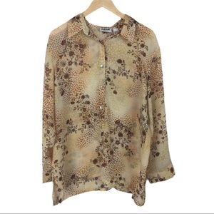 Chico's brown floral blouse